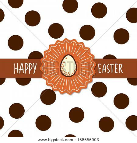 Easter greetings card template. Flowers garlands with eggs