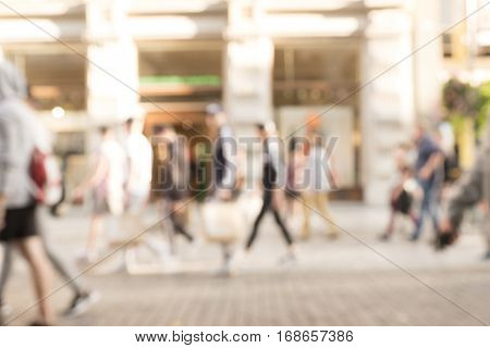 Busy shopping street with blurred focus