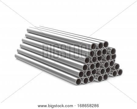 Metal Pipes 3D Illustration