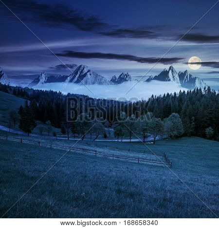 Rocky Peaks Behind The Forest And Meadow At Night