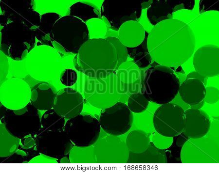 Shiny Green Sphere Background 3D Illustration