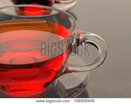 Tea Cups Background 3D Illustration