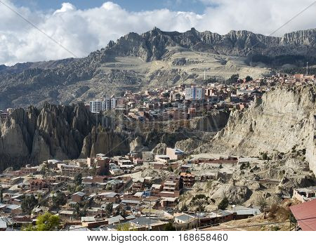 View toward El Alto in La Paz Bolivia