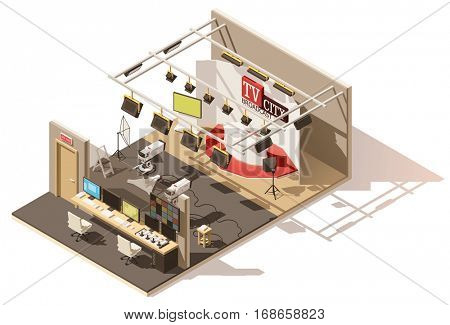 Vector isometric low poly television studio with production control room. Includes studio stage, tv cameras, lighting