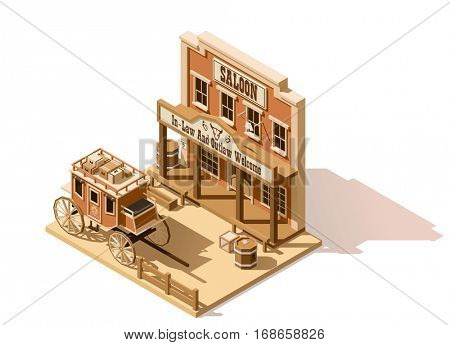 Vector isometric low poly old west saloon and stagecoach