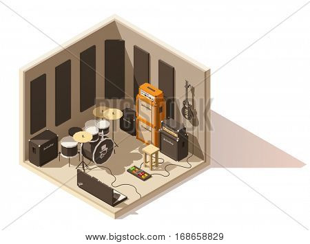 Vector isometric low poly recording studio icon. Includes recording space, guitars, drum kit and other music equipment