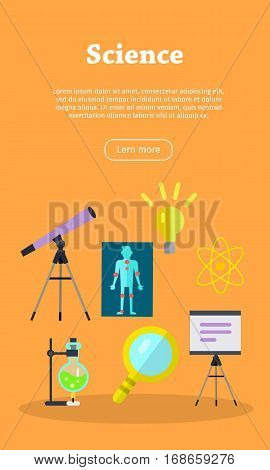 Science banner with chemical flask, telescope and magnifying glass. Science infographic concept background. Scientific research, science lab, science test, technology illustration. Website template.