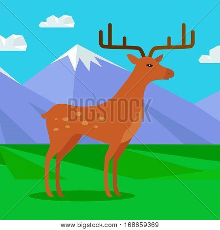 Young fallow deer male with horns on mountain meadow with snowy mountains behind. Flat style vector. North nature beauty. For travel, nature concept, children s book illustrating, printing material