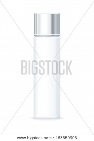 Shampoo bottle isolated on white. Empty cosmetic product tube. Reservoir without label. No logo or trademark on the flask. Part of series of decorative cosmetics items. Flagon. Vector illustration