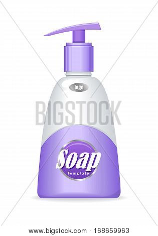 Purple soap bottle with spreader isolated. Cosmetic product flasks with logo or symbol on the nameplate. Reservoir with label. Part of series of decorative cosmetics items. Vector illustration