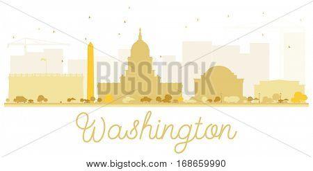 Washington DC City skyline golden silhouette. Simple flat concept for tourism presentation, banner, placard or web site. Business travel concept. Cityscape with landmarks.