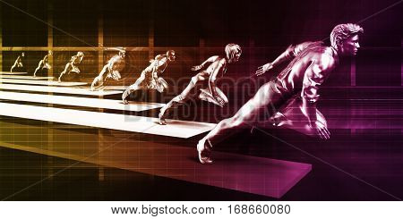 Confident Business People Running in the Same Direction 3D Illustration Render