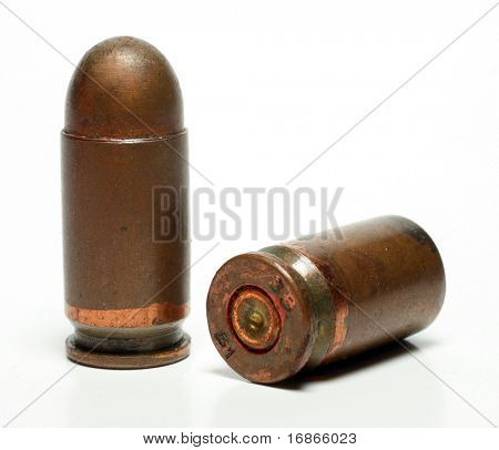 High Contrast edgy bullets 9mm caliber Tokarev isolated on a white background