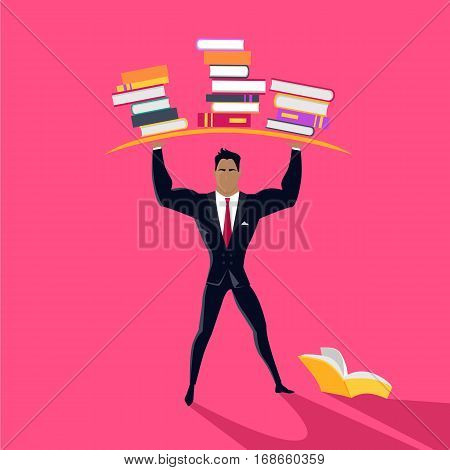 Reading power vector concept. Flat design. Intellectual strength. Man character in business suit holding stacks of books over head. Self-education, and literature reading. On pink background.