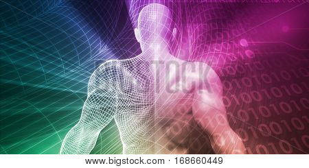 Digital Lifestyle and Futuristic Man Using Technology 3D Illustration Render
