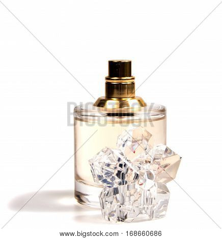 women's perfume in beautiful bottle isolated on white background
