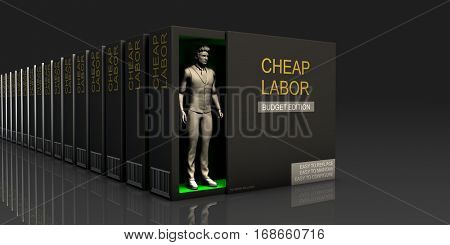 Cheap Labor Endless Supply of Labor in Job Market Concept 3d Illustration Render