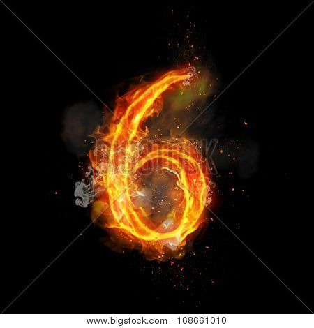 Fire number 6 six of burning flame. Flaming burn font or bonfire alphabet text with sizzling smoke and fiery or blazing shining heat effect. Incandescent hot red fire glow on black background