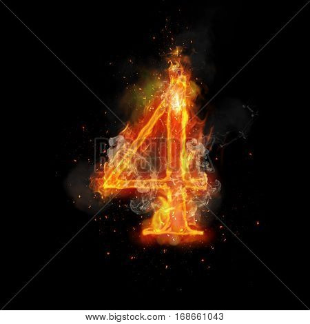 Fire number 4 four of burning flame. Flaming burn font or bonfire alphabet text with sizzling smoke and fiery or blazing shining heat effect. Incandescent hot red fire glow on black background poster