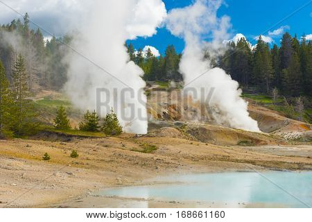 Deatiled photo of a turquoise thermal pool with Black Growler Steam Vent and Ledge Geyser.Back Basin area at Norris Geyser Basiin. Yellowstone National Park, Wyoming, USA