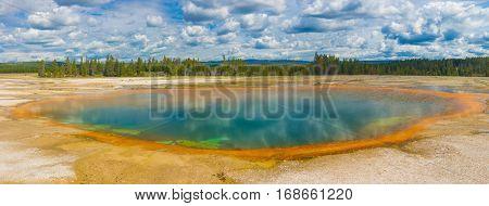 Beautiful hot spring. Yellowstone National Park, Wyoming, USA. Panoramic photo