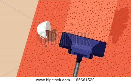 Carpet cleaning service banner. Cup of coffee spilling on carpet. Professionally cleaning carpets. Vacuum cleaner on a carpet with an extra clean strip. House cleaning concept. Vector illustration
