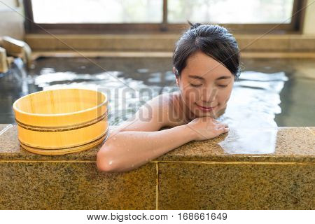 Woman enjoy in Japanese onsen