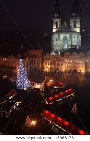 Staromestske (oldtown) square - christmas night-shot poster