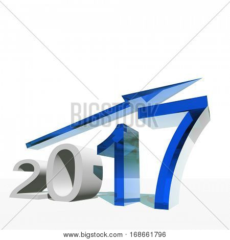 Conceptual 3D illustration blue 2017 year symbol with an arrow on background for success, growth, graph, future, finance financial new year holiday increase rise date career forecast December progress