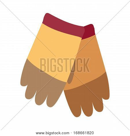 Winter colorful knitted sheep woolen gloves isolated on white. Garment covering whole hand. Separate sheaths or openings for each finger and thumb. Three color gloves. Skier sport gloves icon. Vector