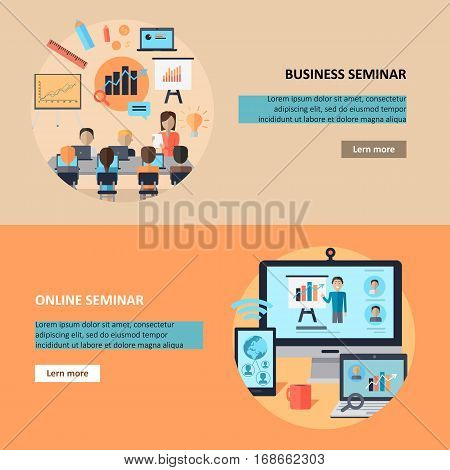 Business online seminar. Distance work. Communication by means of computer technologies. Internet. Motivational webinar. Part of series of developing successful leadership in team working. Vector