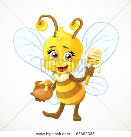 Cute Bee With A Clay Pot Full Of Honey And Wooden Dipper Stand On White Background