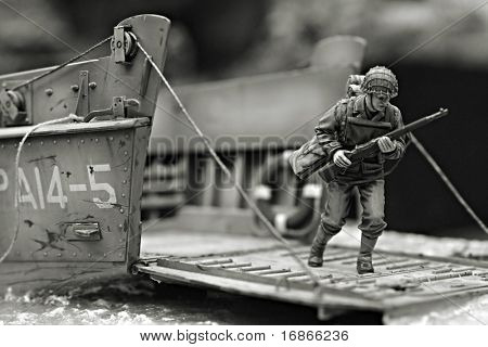 First Marine in Iwo Jima beach WW2 - plastic model 1:72 scale - extremely closeup