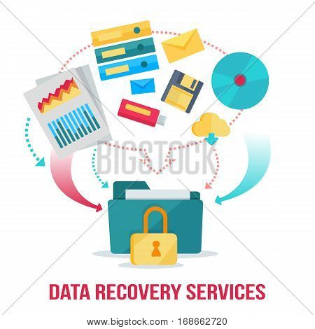 Data recovery services banner. Networking communication and data carriers icons on white background. Data protection, storage service and online cloud storage, security and privacy, safety and backup.