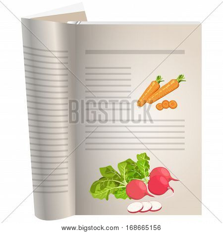Template pages of a cookbook. You can have there favorite recipes. Carrot sliced. A set of ingredients for vegetarian dishes. Radishes with greens and a poreznny. The template for the layout of text recipes.