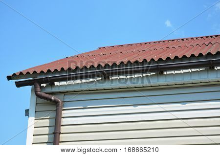 House Construction with roofing and rain gutter system as bad building example.