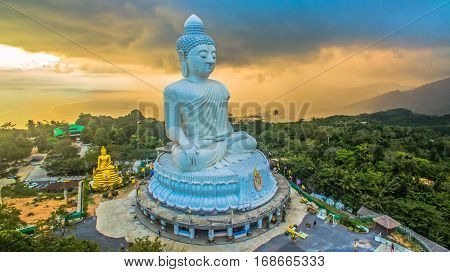 Raining At Big Phuket's Buddha In Sunset