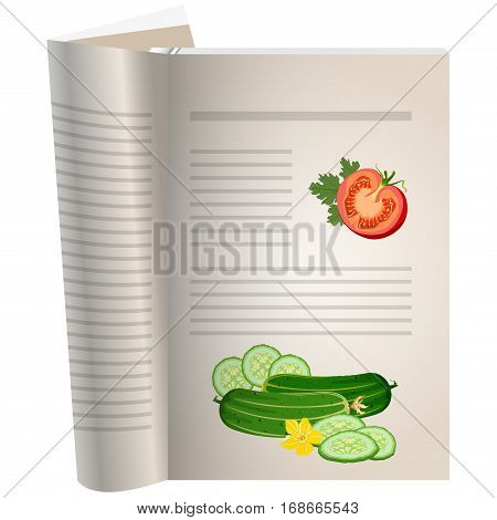 Template pages of a cookbook. You can have there favorite recipes. A piece of tomato with herbs. Two cucumber lie nearby. Cucumbers whole and sliced. The template for the layout of text recipes.