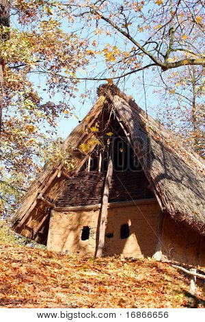 Traditional house in Bronze Age - open-air museum Pilsen City Czech Republic Europe