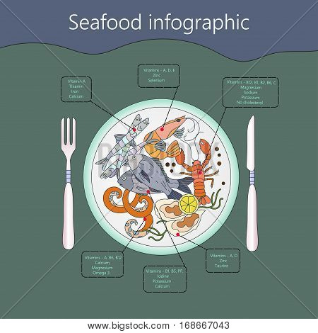 Seafood infographic. Vector. Useful vitamins and minerals.