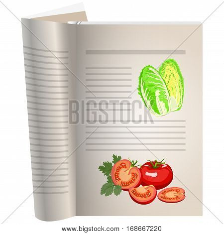 Template pages of a cookbook. You can have there favorite recipes. Still life of vegetables. Salad iceberg. Tomatoes whole and cut. The template for the layout of text recipes.
