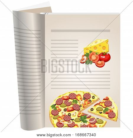 Template pages of a cookbook. You can have there favorite recipes. A set of ingredients for pizza. Piece of cheese. Tomatoes whole and cut. The template for the layout of text recipes.