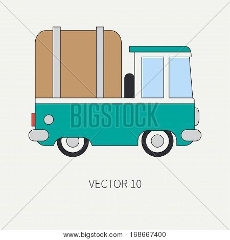 Line flat vector color icon service staff car. Commercial vehicle. Cartoon vintage style. Cargo transportation. Pickup rural truck. Awning capacity auto. Road. Illustration and element for design.