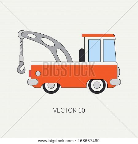 Line flat vector color icon service staff car with hydraulic crane. Commercial vehicle. Cartoon style. Cargo transportation. Hoist. Maintenance tow auto. Road. Illustration and element for design.