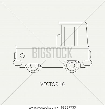 Line flat plain vector icon service staff car. Commercial vehicle. Cartoon vintage style. Cargo transportation. Pickup rural truck. Tow auto. Simple. Childly. Illustration and element for design.