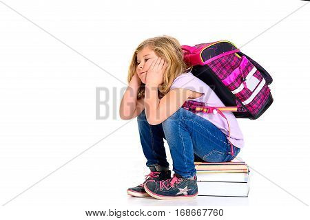 Sad Girl With Schoolbag