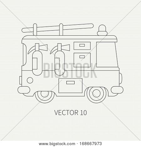 Line flat plain vector icon fire truck. Emergency assistance vehicle. Cartoon style. Fireman. Maintenance. Rescue. Fire department. Extinguisher. Siren. Road. Illustration and element for design