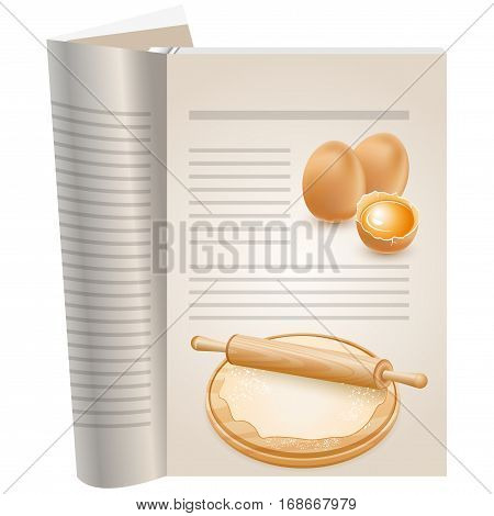 Template pages of a cookbook. You can have there favorite recipes. Group of eggs. One egg is broken, the yolk visible. Healthy eating. On board the dough and rolling pin.