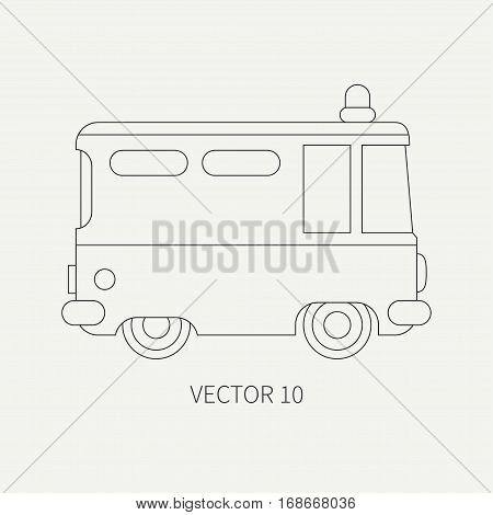 Line flat plain vector icon police truck. Special purpose assistance vehicle. Cartoon style. Maintenance. Rescue, security. Police department. Siren van. Law. Illustration and element for design.