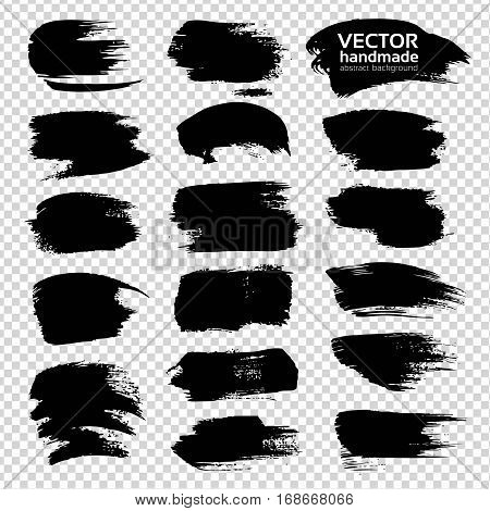 Black Big Textured Strokes Set  Isolated On Imitation Transparent Background